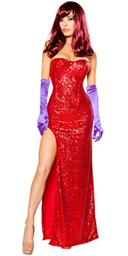 Women's Sexy Jessica Rabbit Halloween Costume - Red - -