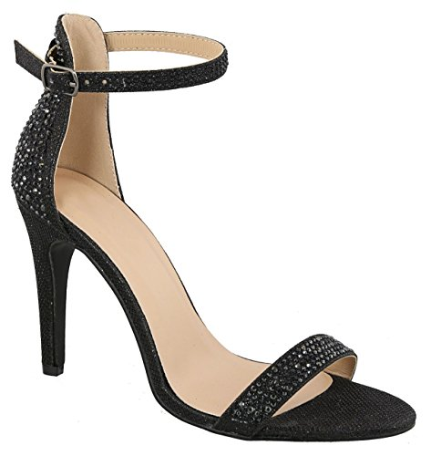 MVE Shoes Women's Shimmer Heeled Sandals - Sexy Stilleto High Heels - Open Toe Ankle Strap Sandals, Abby-1 Black ()