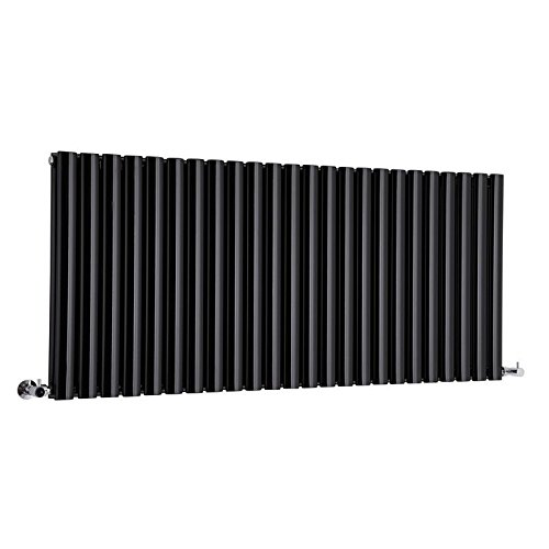 Hudson Reed Revive - Luxury Black Horizontal Designer Double Radiator Heater & Angled Valves - 25'' x 55.5'' - Mild Steel Hydronic Warmer - 2,727 Watts - 24 Vertical Oval Columns - Fixing Pack Included by Hudson Reed (Image #5)