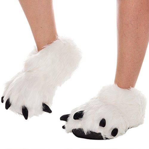 Silver Lilly Bear Paw Animal Slippers (White, -