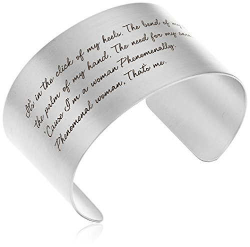 "UPC 844923038661, Dogeared ""Maya Angelou"" Phenomenal Woman Large Engraved Sterling Silver Cuff Bracelet"