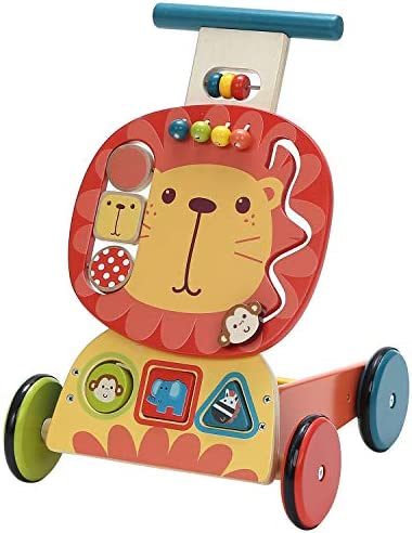 labebe – 4 Wheels Walker for Baby, Wooden Push Wagon Toy for 1-3 Years Old Girl/Boy, Toddler/Kid Push Toy Cart for Walking, 2-in-1 Toy Shopping Cart, Outdoor Activity Walker for Infant – Yellow Lion