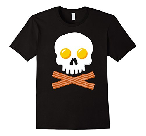 Mens Breakfast Skull Shirt Egg and Bacon Skull Crossbones Tshirt Small Black