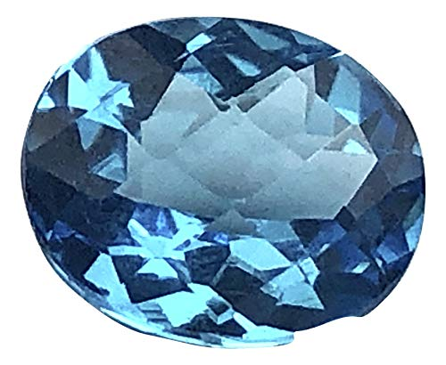 Jewels of New York Swiss Blue Topaz Emerald Cut Oval Round Checker Board Top (Assorted Sizes) (12 x 10 Oval Checkerboard) - Oval Cut Swiss