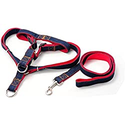 Joopee Dog Leash and No-pull Adjustable Harness -Double Padded Red