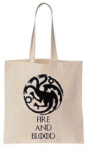 GoT House Targaryen Fire and Blood Sacchetto di cotone tela di canapa