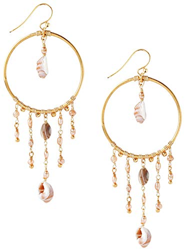 Chan Luu Gold Plated Champagne Mix of Shell Charms/Chain Drops Hoop - Chan Earrings Drop Luu