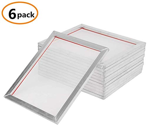 6 Pack Aluminum Silk Screen Printing Frames ,20 x 24 inch Pre-Stretched Aluminum Screen Printing Screens with 110 tpi White Mesh