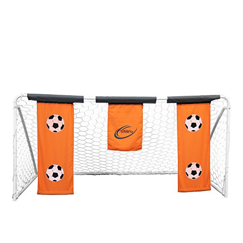 Holding Banner (Skywalker Sports Soccer Goal with Practice Banners, Orange, 9' x 5')