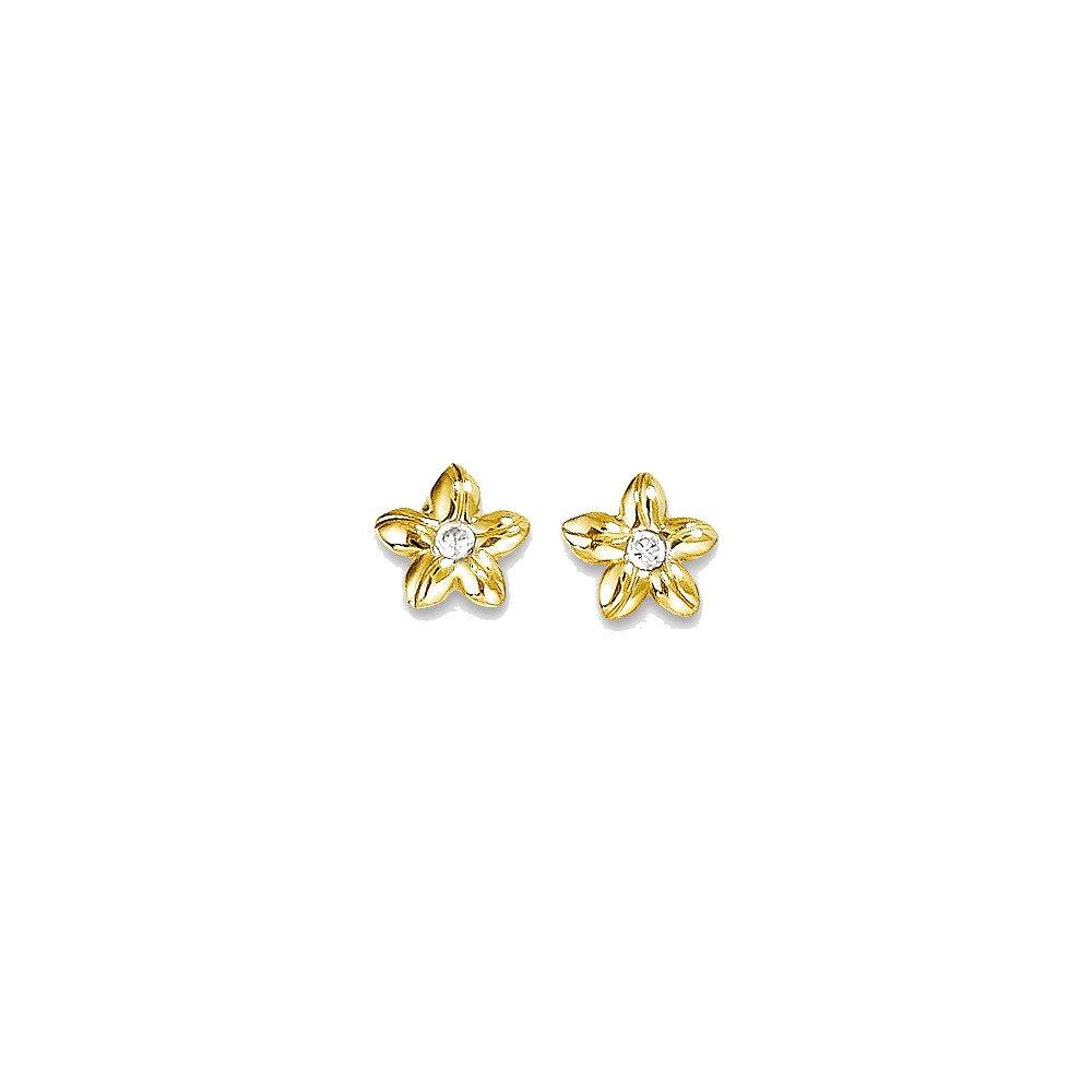 14k Yellow Gold Madi K Synthetic Cz Flower Post Earrings