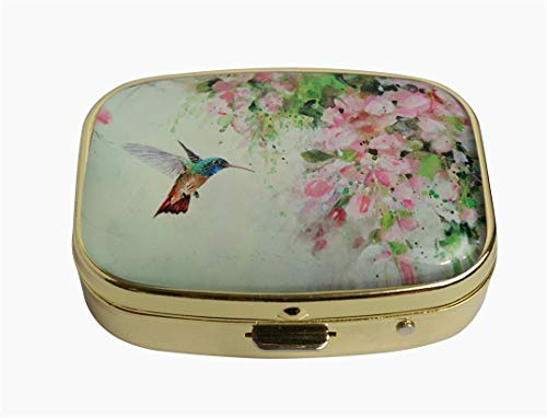Hiutong Lovely Hummingbird and Pink Flowers Custom Square Gold Glass Pill Case Decoration Metal Medicine Vitamin Tissue Unique ()
