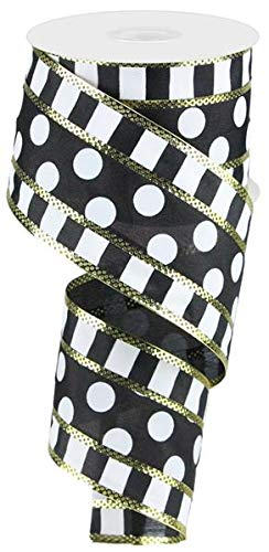 Polka Dots with Stripes Wired Edge Ribbon - 10 Yards (Black, White, -