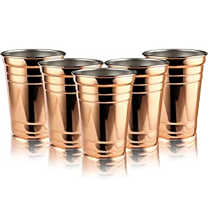 Sunrise Rose Gold Stainless Steel Cups 500ml 17oz, Kereda Metal Drinking Mugs Tumblers BPA Lead Free for Children, Adults and Toddlers, Party Camping Home Hiking Birthday Tableware Set of 5
