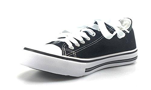 Torna A Scuola Eleganti Sneakers Stringate In Canvas Logan-1 Bianche