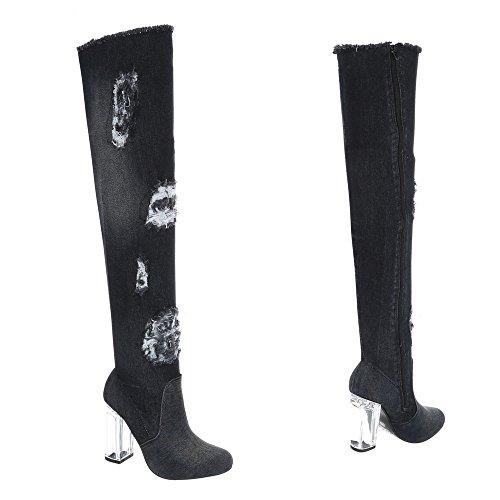 43 Hp Chaussures Ital Et Kitten Bottines Bottes Noir Cuissardes heel Femme design 1vv5xpqwP