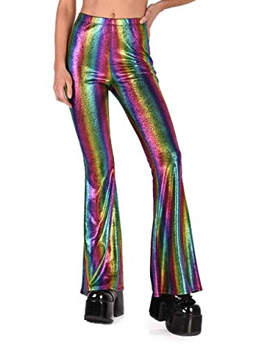 (iHeartRaves Metallic Rainbow Snake Charmer Bell Bottoms Rave Pants (Medium))