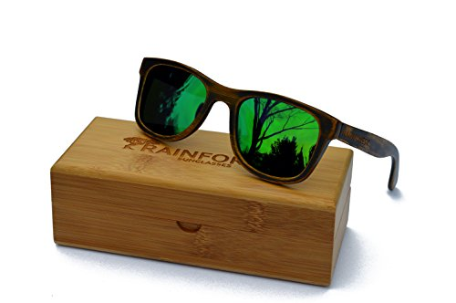 Rainforest Unisex- Adult's Bamboo Sunglasses, Polarized, Wayfarer, Driftwood Emerald by Rainforest