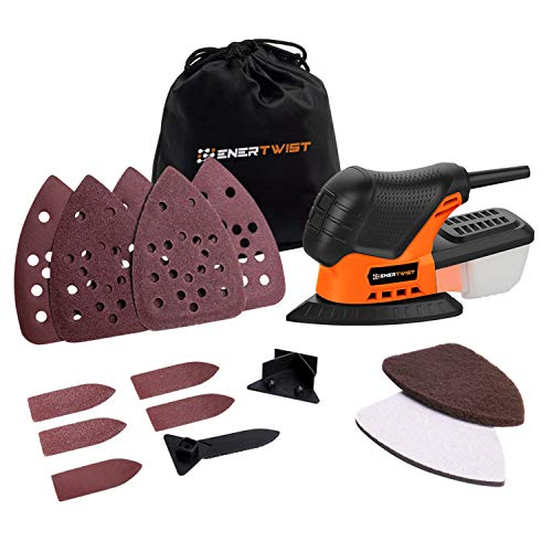 Enertwist Mouse Detail Sander -13000OPM Lightweight Small Sander with Dust Box for Tight Corner and Small Hard-to-reach Areas Wood Sanding, ET-DS-100 from ENERTWIST