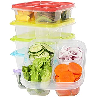 Meal Prep Haven 4-Compartment Snack Box, 6-Pack Food Container Set, Plastic Food Storage Containers with Lids, Reusable Food Containers for Meal Prepping, Stackable Meal Prep Containers with Dividers