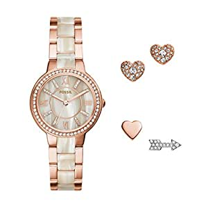 Fossil Women's ES3965SET Virginia Three-Hand Stainless Steel Watch and Earring Set