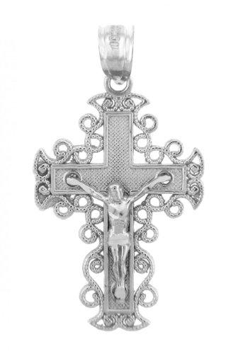 925 Argent Fin Crucifix Pendentif - La Rejoice Crucifix
