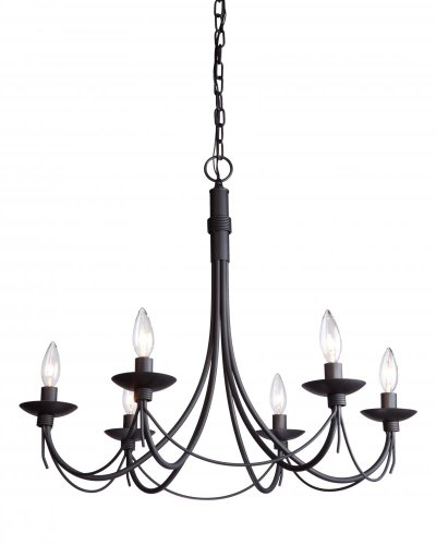 Artcraft Lighting Wrought Iron Chandelier, 25-Inch x 23-Inch, Ebony