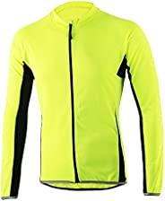 Oweisong Men's Cycling Biking Jersey Outdoor Bicycle Long Sleeve Jersey Road Riding Breathable Running Shirt C