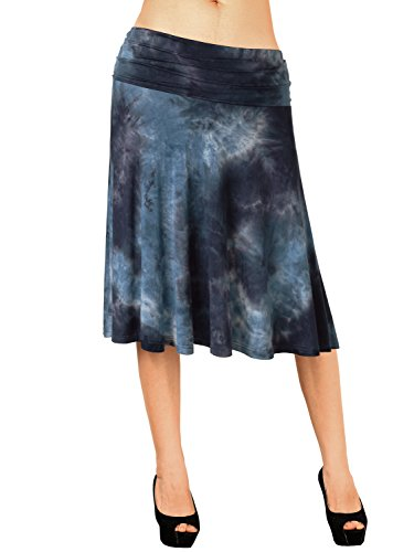 Length Blue Color (DJT FASHION Ladies Stretchy Tie-Dye Skirts,Breathable Summer Tie Tie-Dye Soft Knit Elastic Waist Flared Knee Length Skirt XL Blue Tie-Dye 1)
