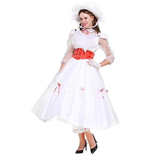 CosplayDiy Women's Costume Dress for Mary Poppins Princess Cosplay M