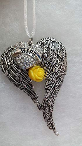 Wife Memorial Angel Wings w/Crystal Heart & yellow Rose Charm Christmas Ornament Sympathy Gift