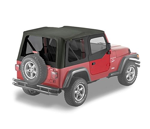 Bestop 51124-15 Black Denim Replace-A-Top Soft Top Tinted Windows w/Upper Door Skins for 1997-2002 Jeep Wrangler