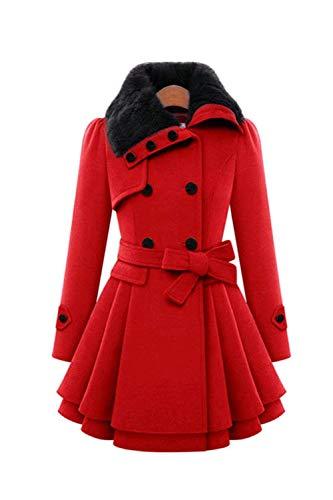 Femme Parka Longue Elgante Chaud Hiver Manteau Longues Mode Spcial Style Revers Long Manches Manteau De Laine Oversize Uni Manche Mince Loisir Manteau De Transition Art Fourrure Rouge