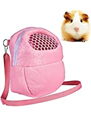Yosoo Small Pets Carrier Bag, 1 PCS Portable White Mesh African Hedgehog Hamster Breathable Pet Dog Carrier Bags Handbags Puppy Cat Travel Backpack (M, White Mesh - Pink)