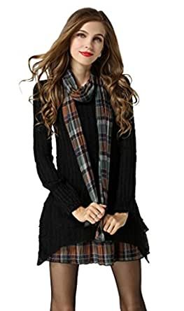 Women's Winter Long Sleeve Stretch Plaid Tartan Slim Fit