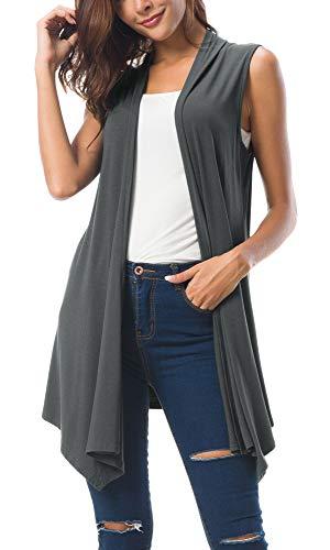 Women's Sleeveless Draped Open Front Cardigan Vest Asymmetric Hem (M, Deep Grey)