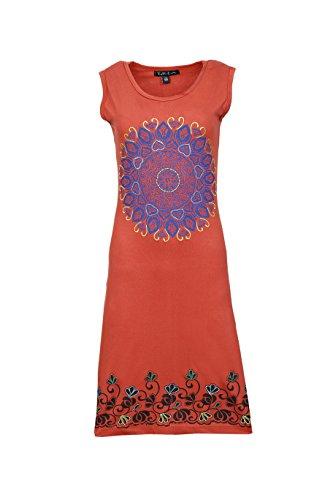 Vestido sin mangas de las señoras Con colorido Chakra de impresión y bordado de flores Naranja