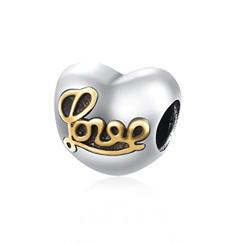 HMILYDYK Charm 925 Sterling Silver Cubic Zirconia Gold Plated Love Letter Bead Fits Pandora Bracelet - Plated Gold Chains Canada