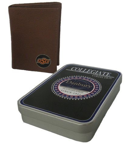 Danbury Men's Oklahoma State Trifold Wallet, Brown, One Size (Oklahoma State Brown Leather)