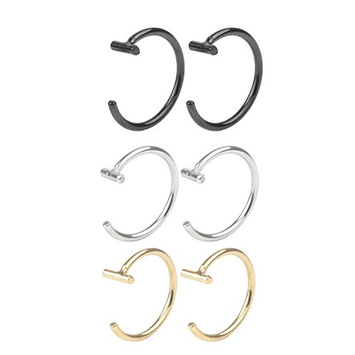 T'US 18G Nose Hoop Earring Ring Stud Nose Rings Nose Screw 8mm Body Jewelry Piercing