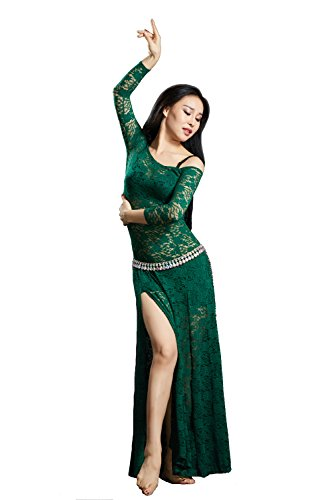 SHOWYOU Lace Belly 6 Color Dance Belly Dancing Costumes Oriental Belly Dance Costumes Dress (Dark Green)