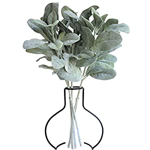APHER 5 PCS Artificial Flocked Lambs Ear Leaf Spray Leaves Stems Fake Greenery Bouquets for Home Wedding DIY Craft Floral Arrangement 105