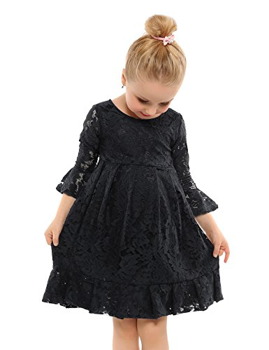 - Arshiner Kids Girl O-Neck Long Sleeve Pullover Floral Pleated Lace Dress Black 110(Age for 5-6Y),Black,110(Age for 5-6Y)