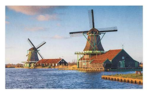 Lunarable Nautical Doormat, Windmills on The Pond Harbor in Famous Netherlands Canal European Landmark, Decorative Polyester Floor Mat with Non-Skid Backing, 30 W X 18 L inches, Caramel and Blue ()
