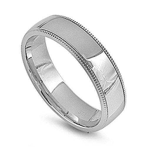 Men's Milgrain Wedding Ring Wholesale Stainless Steel Band New 6mm Size 6