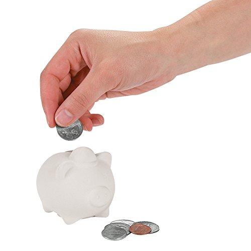 Fun Express - DIY Mini Ceramic Pig Bank with Hat - Craft Kits - DYO - Ceramic - Banks and Figurines - 12 Pieces