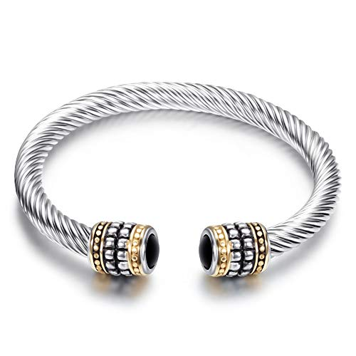 (ZSML Male Lady Bracelet Retro Personality Two-Tone Bangles, Stainless Steel Cable Wire Gemstone-Studded Bracelet, Adjustable Opening Women Bracelets,A,7.5cm)