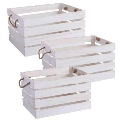 Juego 3 Cajas Madera Blanca