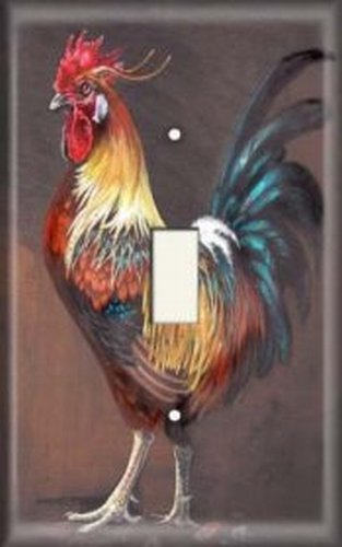 Rooster Switch Cover - Light Switch Plate Cover - Colorful Rooster