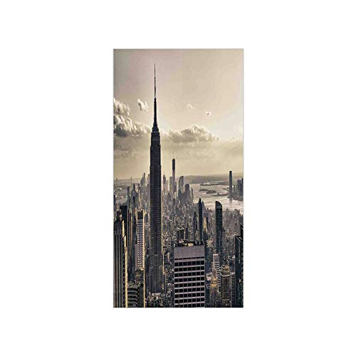 Decorative Privacy Window Film/Aerial View of NYC in Winter Time American Architecture Historical Popular Metropolis Photo/No-Glue Self Static Cling for Home Bedroom Bathroom Kitchen Office Decor Beig