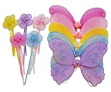 Wander Wings Kids Party Favors Girls Butterfly Angel Fairy Unicorn Wings with Wands (Set of 5) for Garden Parties, Birthday, Costumes Multicolor